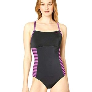 NWT NIKE Laser Cut Crossback Athletic Swimsuit XL